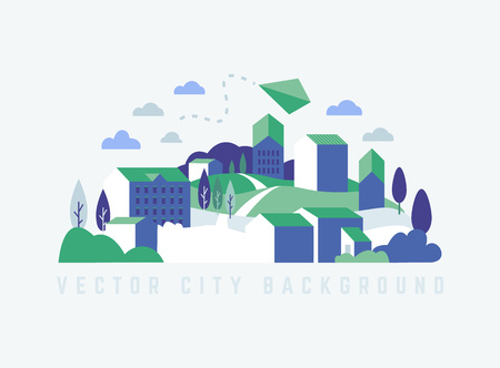 Vector ecology illustration in minimal geometric flat style. Abstract green city lable, logo, covers.