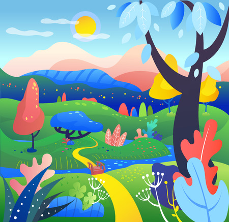 Abstract landscape background for websites, banners, covers. Fantasy scene concept, dreaming world.