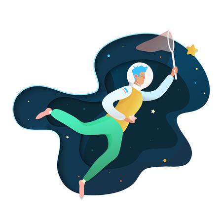 L'homme dans l'espace. L'homme atteint son objectif, réalise des rêves isolés sur fond spatial. Mon souhait le plus cher.