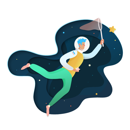 Mann im Weltraum. Der Mensch erreicht sein Ziel, macht Träume wahr, isoliert auf Weltraumhintergrund. Mein liebster Wunsch.