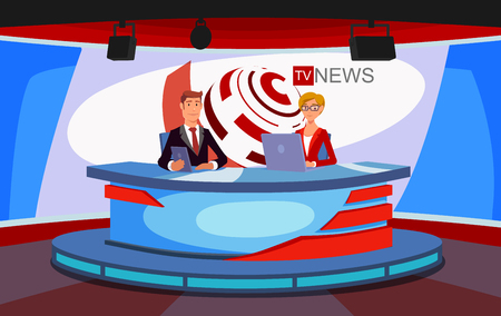 Worlds news illustration concept. Tv presenters. Breaking news on broadcasting, stage lighting equipment.