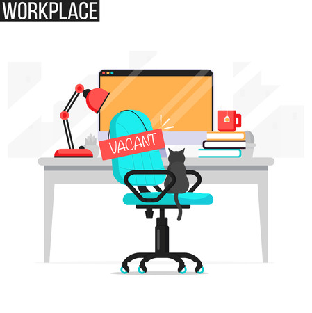 Job vacancy illustration with abstract office desk with computer, chair and vacant message. Empty work place