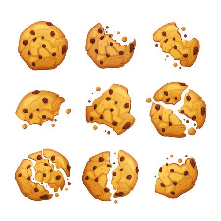 Satz gebissene und zerbrochene Kekse. Isolierte Kekse auf weißem Hintergrund. Vektor-Haferflocken-Cookie mit Schokoladenkrümeln. Vektorgrafik