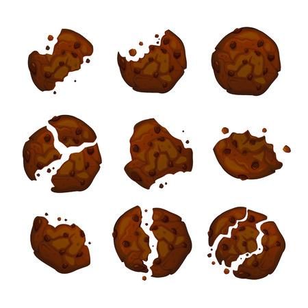 Biscotti di pepita di cioccolato di vettore. Illustrazione vettoriale di biscotti al cioccolato fatti in casa. Set di biscotti morsi e rotti. Biscotti isolati. Vettoriali