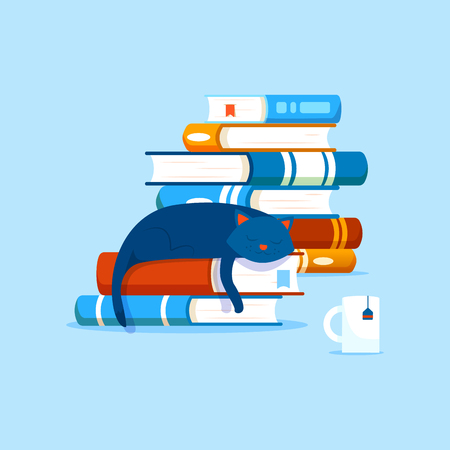 Piles of books and a domestic cat resting on a book. Library illustration. Hobby interest reading.