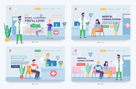 Illustration of medical care with characters of certified doctors, nurses in a hospital reception. Hospital services site header.