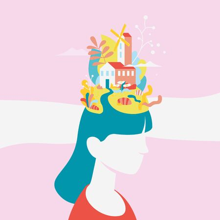 Creative fantasy thinking vector illustration. Pastel colors. Creating ideas in the head, creative profession. Mechanism of the brain. Woman world.