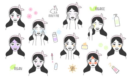 Skin care procedures. Line style icon of daily beauty treatments. Doodle style vector illustration. Skin care, acne treatment, washes makeup, facial massage.