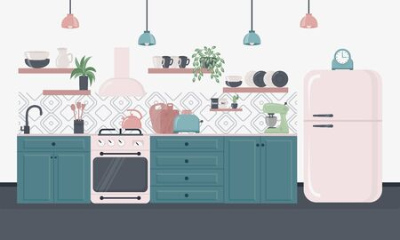 Kitchen interior inspirational design in loft style. Dining area in the house, kitchen utensils. Illustration slide for furniture site Vectores