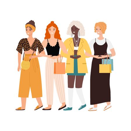 Four young women or girls dressed in trendy clothes. Group of  walking friends or feminist activists. Female students. Ilustração