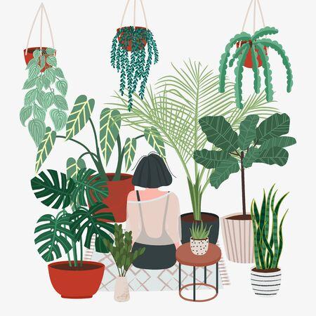 Signora delle piante pazza. Innaffiare un giardino di casa. La bella ragazza si prende cura delle piante. Illustrazione di piante da appartamento e fiori in vaso Vettoriali