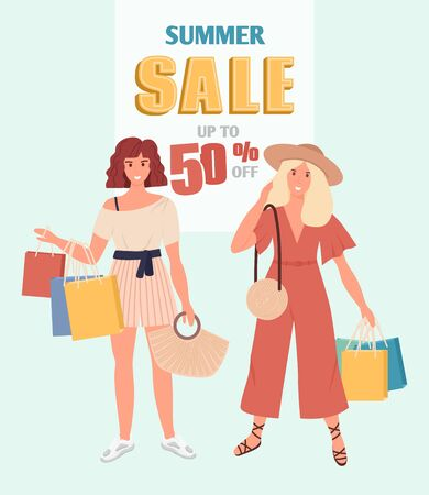 Summer sale vertical banner design with fashionable girls with purchases. Hand drawn style vector design.