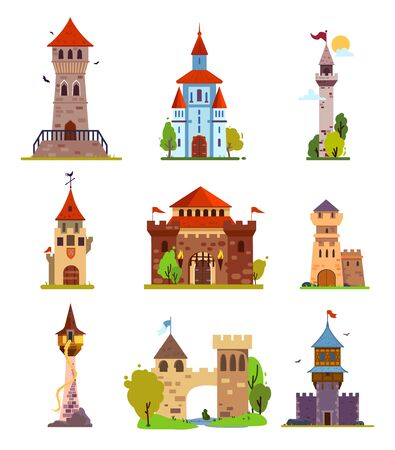 Different fantasy and gothic castles and citadels, with fabulous elements, for stickers and childrens illustrations.