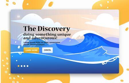 Voyage illustrations for advertising. Landing page slider banner with nature scene, ocean tidal storm waves. Template adventure site 向量圖像