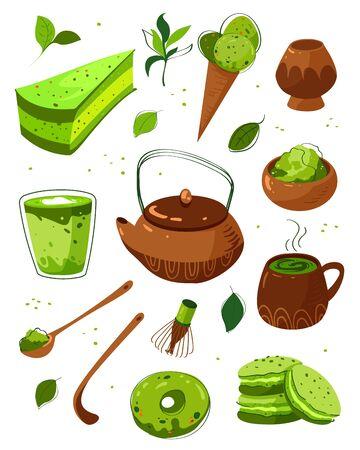 Matcha green tea powder and equipment hand drawn illustrations set. Japanese traditional drink vector