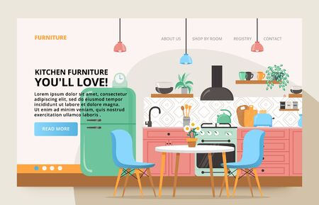 Kitchen modern colorful design. Retro kitchen interior with furniture. Illustration slide for furniture website.