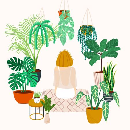 Crazy plant lady. Watering a home garden. Girl meditates on a rug in the interior with potted plants and flowers. Girl resting at home