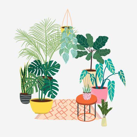 Scandinavian style illustration, modern and elegant home decor. House indoor plants. Vector design flowers.