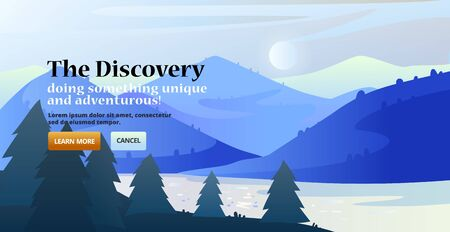 Banner with minimalistic nature design. Landing page slider banner with nature scene, with mountains, forest. Site template. 向量圖像