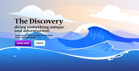 Banner with minimalistic nature design. Landing page slider banner with nature scene, ocean tidal storm waves. Template for website.