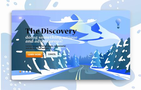 Voyage illustrations for advertising. Landing page slider banner with nature scene with mountains.