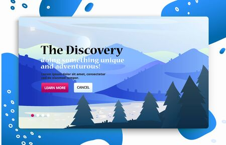 Voyage illustrations for advertising. Landing page slider banner with nature scene with mountains, forest.