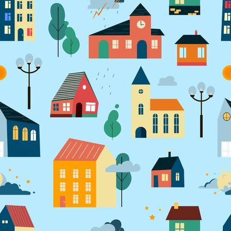 Cartoon geometric houses  seamless pattern. Flat design. Hand drawn trendy illustration. Big city pattern. 向量圖像