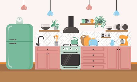 Furniture design banner concept. Kitchen interior inspirational design in flat colorful style. Dining area in the house, kitchen utensils. Çizim