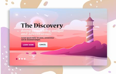 Voyage illustrations for advertising. Landing page slider banner with nature scene with lighthouse and dawn on the horizon Çizim