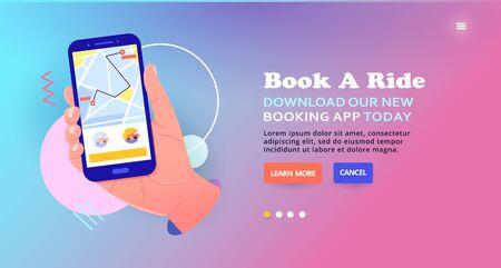 Mobile Taxi booking service, car tracking. Slider illustration. 向量圖像