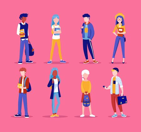 Happy kids in different clothes. Flat vector illustration.