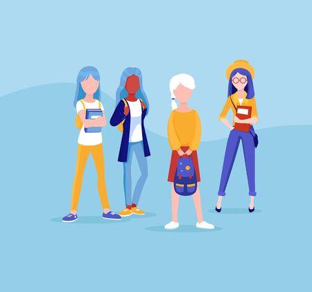 School friends talking at recess, vector. Womens team.
