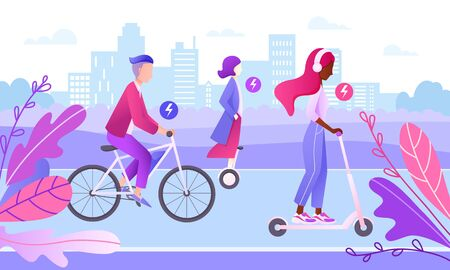 Characters riding bike, scooter, hoverboard on the road in the city. Eco friendly transport. Ecology Concept. People on city