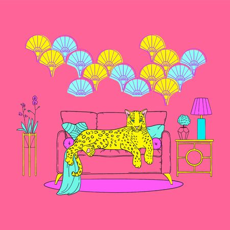 Illustration of cute leopard in neon pop colors, on a sofa in an art deco interior. Memphis pop background for poster, card. Funny pink leopard trendy print. 版權商用圖片 - 132358268