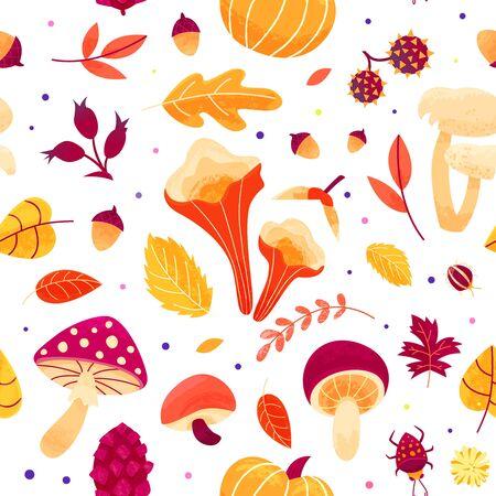 Fall season seamless print design. Hand drawn background with various mushrooms, berries, pumpkin.