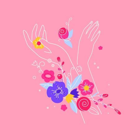 Beautiful composition of female hands with roses and petals, leaves. Colorful vector 向量圖像