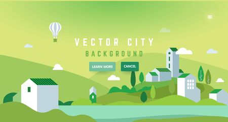 Landscape with air balloon - abstract horizontal banner. Nature in the city banner with typography, green theme - greeting card, poster. Web header. Illustration