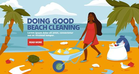 Beach cleaning. A volunteer clean up trash. Ecology and environment concept.