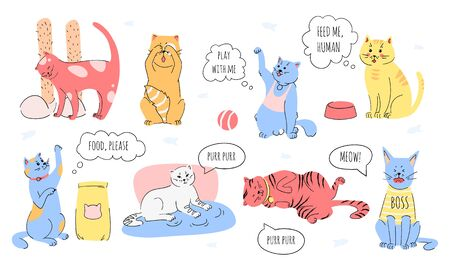 Doodle set of cute cats who ask to play, ask for food and affection. Kitten meowing. Vector illustration set.