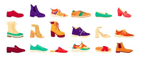 Set of flat shoes, high heels, ugly boots - isolated icons. Formal mens and womens footwear.