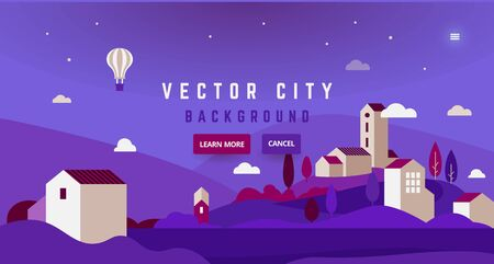 Landscape with air balloon - abstract horizontal banner. Nature in the city banner with typography, romantic evening theme - greeting card, poster. 向量圖像