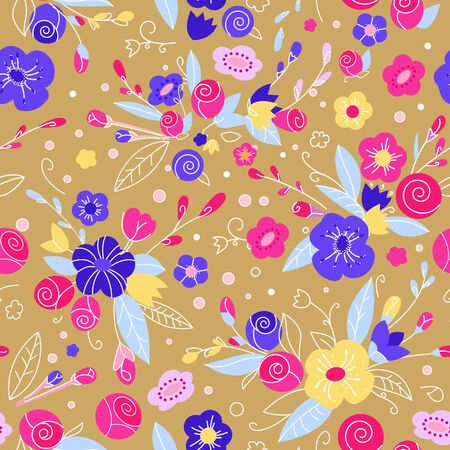 Print with buds of roses, gentle background. Doodle floral print for fabric, clothing or wrapping paper. 向量圖像