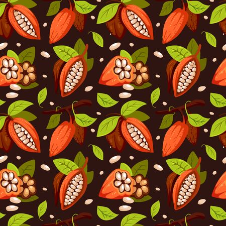 Chocolate cocoa beans tree pattern. Composition of Cocoa, design template for fabric, cover, prints. Cacao plant.