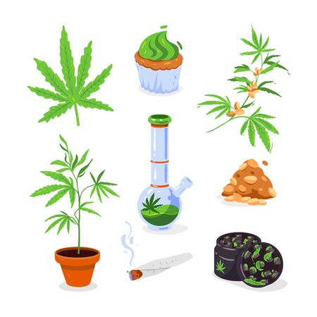 Smoking bong, hemp cupcake, potted marijuana bush, hemp leaf, cigarette - isolated vector icons in cartoon flat  style.