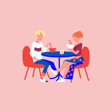 Couple eat noodles from bowls vector illustration. Lunch in asian street food cafe, eating ramen noodle soup. Chinese noodles at chopsticks.