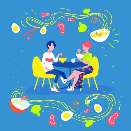 vector illustration. Lunch in asian restaurant. Chinese noodles at chopsticks. Flying noodles with ramen ingredients.
