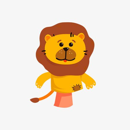 Game with doll, vector animal character, isolated icon. Hand puppets, funny big cat, lion toy animal.