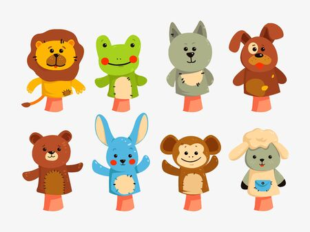 Educational game with animal dolls on hand, vector characters isolated. Hands puppets play doll, cute and funny animals.