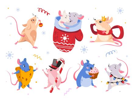 Mouse set, hand drawn style. Mice sleep together, with Christmas toys, mouse dances, eats, rat in a cheese suit. Illustration