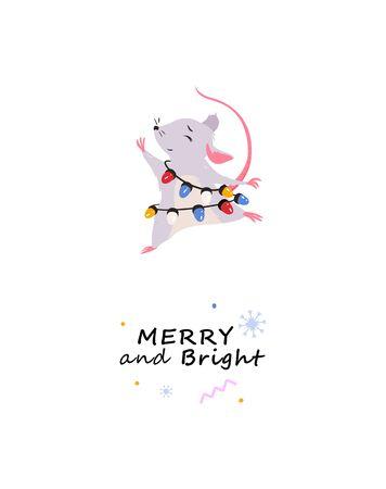 Holiday gift print. Cute fat rat, vector illustration. Illustration